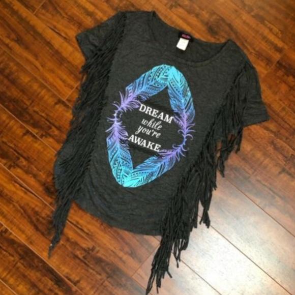 Dream Feather Fringe Stretchy Short Sleeve T-Shirt